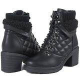 Womens Boots Block High Heel Women Ankle Boots Winter Fall Boots for Women Black Combat Boots Lace up Platform Fur Collar Western Cowgirl Boots