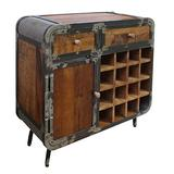 The Urban Port Farmhouse 2 Drawer Wine Bar Cabinet with Door and Distressed Metal Frame, Brown and Gray