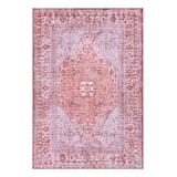 Well Woven Indoor Rugs Red - Red Botanical Medallion Gila Washable Rug