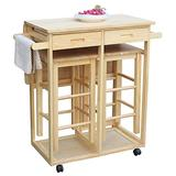 Goujxcy 3 Piece Dining Table Set, Kitchen Island Table on Wheels with Storage and Drawers, Kitchen Cart Dining Table Set with Folding Drop Leaf, Small Kitchen Table Set for 2 Square Chairs