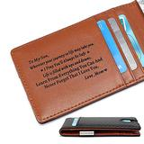 Minimalist Slim Money Clip Carbon Fiber Travel Wallet for Son from Mom - Personalized Custom Engraved RFID Blocking Front Pocket Bifold Wallet with Mini Credit Card Holder for Birthday Christmas