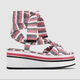 Zara Shoes   New Zara Stripped Fabric Lace-Up Platform Sandal   Color: Gray/Red   Size: 9