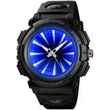 PASOY Mens Cool Blue 3D Backlight Watch Black Rubber Strap Swim Waterproof Sport Quartz Analog Watches (Black)
