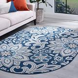 Piper Navy 5x8 Oval Area Rug for Living, Bedroom, or Dining Room - Transitional, Floral
