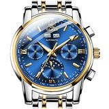 Men's Wrist Watches,Automatic Watches for Men Mechanical Self Winding Watch Swiss Made OLEVS Luxury Day-Date-Month Calendar Moon Phase Watch Men Wind Up Wristwatch Blue Face,reloj para Hombre