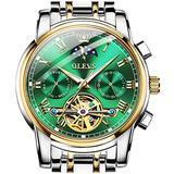 Men's Wrist Watches,Automatic Watches for Men Stainless Steel Tourbillon Mechanical Watch Green Dial,OLEVS Watch Men Swiss Moon Phrase Luminous Hands Self WindIing Luxury Skeleton Wrist Watch
