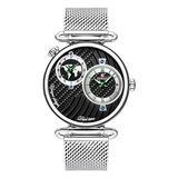 Men's Dual Time Zone Watch Simple Slim Stainless Steel Mesh Belt Quartz Watches Men Casual Waterproof Analog Watch (Silver)