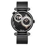 Men's Dual Time Zone Watch Simple Slim Stainless Steel Mesh Belt Quartz Watches Men Casual Waterproof Analog Watch (Black)
