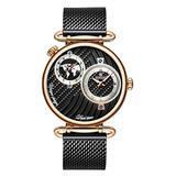 Men's Dual Time Zone Watch Simple Slim Stainless Steel Mesh Belt Quartz Watches Men Casual Waterproof Analog Watch (Rose Gold)