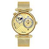 Men's Dual Time Zone Watch Simple Slim Stainless Steel Mesh Belt Quartz Watches Men Casual Waterproof Analog Watch (Gold)