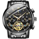 Automatic Watches for Mens Mechanical Wrist Watches OLEVS Luxury Tourbillon Skeleton Watch Black Stainless Steel Man Swiss Watch Self-Winding Moon Phase Watches for Men no Battery,reloj para Hombre
