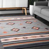 Foundstone™ Lindsay Southwestern Gray/Orange Area Rug Cotton in White, Size 36.0 W x 0.25 D in | Wayfair 906D79CB9CFC4825B38B54D28F454EE5