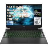 "2021 HP Pavilion 16.1"" FHD Gaming Laptop, Intel 6-Core i7-10750H, 32GB DDR4, 512GB SSD +1TB HDD, NVIDIA GTX 1660Ti Max-Q, Webcam, Bluetooth, Backlit Keyboard, Windows 10 with ES USB Card"