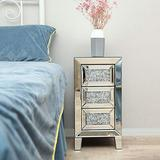 JAXPETY 3-Drawer Mirrored Nightstand, Bedside Table with Crystal Diamond Inlay, Rresplendent Style End Table for Bedroom, Living Room, Office, Silver