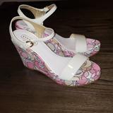 Coach Shoes | New Coach Klara Platform Wedge Peeptoe Pump Heel 8 | Color: Cream/Pink | Size: 8