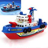 ElevenY Electronic Boat U.S Fire Boat Auto Spray Water Seaport Work Boat Fire Fighting Ship with Led Model Electronic Toys Hobbies for Boys Girls Children Teenagers Adults Gift