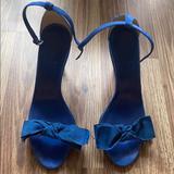 J. Crew Shoes   J Crew Fabric Bow Suede High-Heel Sandal   Color: Blue   Size: 9.5