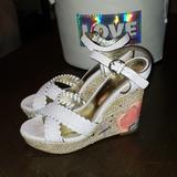 Coach Shoes | Coach Justeen Platform Peeptoe Espadrille Wedge | Color: Orange/White | Size: 7.5