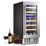 R.W.FLAME 28 Bottle Stainless Steel Freestanding/Built-In Dual Zone Wine & Beverage Refrigerator Glass in Black/Gray | Wayfair W5185B