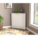 Ebern Designs Ahjanay 2 Door Corner Accent Cabinet Wood in Brown/White, Size 32.1 H x 31.5 W x 14.8 D in | Wayfair 0D590E7680F74A93B1E452529FA46D49