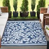 Winston Porter Bozart Floral Navy/White Indoor/Outdoor Area Rug in Blue/Brown/Navy, Size 122.0 H x 94.0 W in | Wayfair