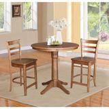 International Concepts 3 - Piece Counter Height Rubberwood Solid Wood Dining Set Wood in Brown, Size 35.9 H in   Wayfair K42-36RT-27B-S6172-2