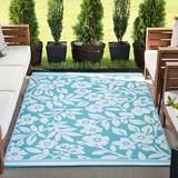 Winston Porter Trentin Floral Aqua/White Indoor/Outdoor Area Rug in Brown/White, Size 122.0 H x 94.0 W x 0.25 D in | Wayfair