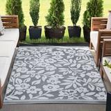 Winston Porter Bogaerts Floral Gray/White Indoor/Outdoor Area Rug in Brown/Gray/White, Size 142.0 H x 106.0 W x 0.25 D in | Wayfair