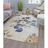 Rugs America VA40B Rose Garden Ivory Transitional Floral Area Rug 9' x 12'
