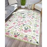 Rugs America VA30C Gardenia Pink Ivory Transitional Floral Area Rug 9' x 12'