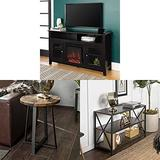 Walker Edison Furniture Company Rustic Wood and Glass Tall Fireplace Stand for TV's with Shelves Entertainment Center and Metal Side End Accent Table Living Room and Bookcase Tall Bookshelf