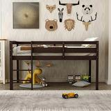Twin Size Wood Loft Bed Low Loft Beds for Kids with Ladder, No Spring Box Needed Bed Frame (Espresso)