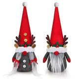 D-FantiX Mother Day Gnomes Decorations, 2Pack Handmade Tomte Swedish Gnome Scandinavian Figurine Nordic Gnomes Plush Christmas Elf Doll with Bell Reindeer Horns Ornaments Home Decor Easter Gifts