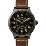 Expedition Scout 43mm Leather Strap Watch Black/brown/black - Black - Timex Watches