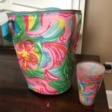 Lilly Pulitzer Kitchen   Lilly Pulitzer Bag Cooler And Set Of 4 Tumblers   Color: Pink/Yellow   Size: Os