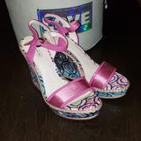 Coach Shoes | New Coach Maegan Peeptoe Wedge Pump Size 7.5 | Color: Green/Pink | Size: 7.5
