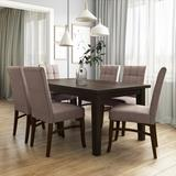Ezra Contemporary 7 Pc Dining Set with 6 Upholstered Dining Chairs in Light Mocha Linen Look Fabric and 66 inch Wide Table - Simpli Home AXCDS7EZ-LML