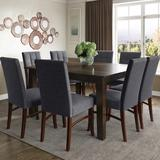 Ezra Contemporary 9 Pc Dining Set with 8 Upholstered Dining Chairs in Grey Linen Look Fabric and 54 inch Wide Table - Simpli Home AXCDS9EZ-SGL