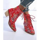 PAOTMBU Women's Casual boots RED - Red & Purple Floral Lace-Up Boot - Women