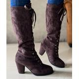PAOTMBU Women's Casual boots BROWN - Brown Lace-Up Block-Heel Boot - Women