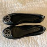 Tory Burch Shoes | Nwot Tory Burch Reva Black Ballerina Leather Flats | Color: Black/Silver | Size: 8