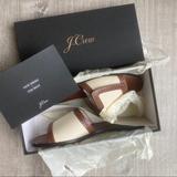 J. Crew Shoes   Nib J Crew Natural Canvas Leather Slide Sandals 8   Color: Brown/Cream   Size: 8