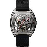 CIGA Design Watch Z Series Men Automatic Mechanical Titanium Case Wristwatch Sapphire Crystal Skeleton Dial Timepiece with Silicone and Leather Strap (Black)