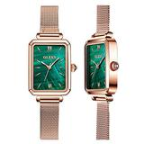 OLEVS Fashion Retro Square Gold Watches for Women Green Stone Square Metal Watch Ladies Analog Quartz Watches for Women Classic Green Face Womens Watch