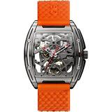 CIGA Design Watch Z Series Men Automatic Mechanical Titanium Case Wristwatch Sapphire Crystal Skeleton Dial Timepiece with Silicone and Leather Strap (Orange)