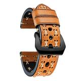 BINLUN Genuine Leather Watch Strap Crazy-Horse Leather Watch Band Rough Oil Top Grain Leather Straps Handmade X-Shape Route Leather Bands for Men Women Black Silver Buckle Watch Straps 20/22/24/26mm