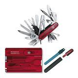 Victorinox Swiss Army SwissChamp XLT Pocket Knife w/SwissCard Swiss Army Knife Set & Pocket Dual-Knife Knife Sharpener Bundle (3 Items)