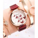Don't AsK Women's Bracelets Red - Red Crystal & Goldtone Butterfly Mesh-Strap Watch & Bracelet Set