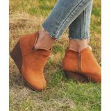 YASIRUN Women's Casual boots Brown - Brown Wedge Ankle Boot - Women