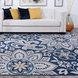 Piper Navy 8x10 Rectangle Area Rug for Living, Bedroom, or Dining Room - Transitional, Floral